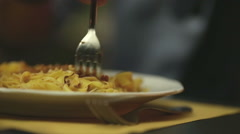 Italian pasta with tomatoes and meat sauce called ragù Stock Footage