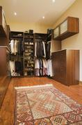 Walk-in closet with carpet in extension in luxurious cottage style log home, Stock Photos