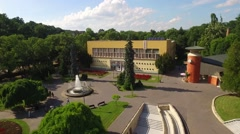 Vrnjacka Spa promenade, aerial view Stock Footage