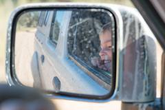 Little boy in the car, Kgalagadi Transfrontier Park, South Africa, wildlife Stock Photos
