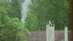 Smoking chimney from a house in the forest Stock Footage