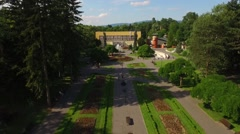 Park Vrnjacka Spa,  aerial view Stock Footage