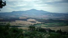 Tuscan panorama at sunset in summer day - stock footage