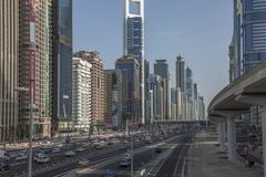 City skyline and Sheikh Zayed Road, downtown Dubai, United Arab Emirates Kuvituskuvat
