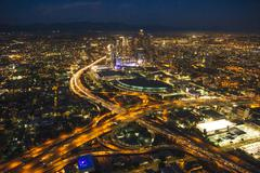 Aerial view of city and highways, Los Angeles, California, USA Kuvituskuvat