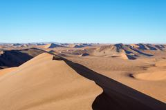Dune landscape at Sossuslvei in Namibia, View from the Big Daddy dune - stock photo