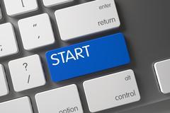 Blue Start Keypad on Keyboard Stock Illustration