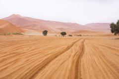 Tire tracks in the Sossusvlei desert, 4x4 only, Sossusvlei, Namibia, the past - stock photo