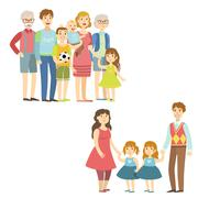 Full Families Posing Together - stock illustration