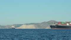 Loaded Cargo ship in the blue Sea Stock Footage