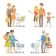 Families Grocery Shopping Together - stock illustration