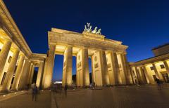 Floodlit Brandenburg Gate at night, Berlin, Germany - stock photo