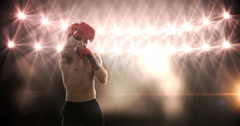 Young man practising boxing Stock Footage