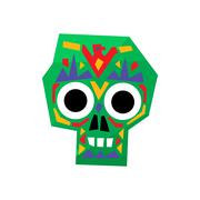 Bright Color Traditional Mexican Painted Scull Icon - stock illustration