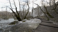 Point of view Unesco word heritage plitvice lakes national park waterfall Stock Footage