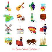 Spain For Travelers Cultural Symbols Set Stock Illustration