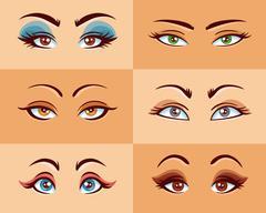 Women Eyes Set - stock illustration