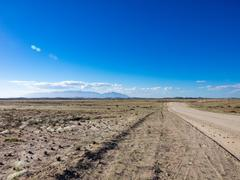 Blank Strengthen road in the nature reserve, on the way from Henties Bay to - stock photo