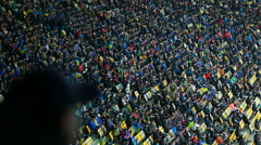Millions of football fans sitting on tribunes and watching match, sporting event Stock Footage