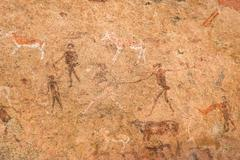 The White Lady (White Lady) is a rock painting in the Tsisab Gorge of the Stock Photos