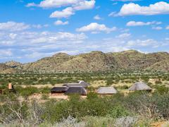 Lodges at Petrified Forest of about 30 kilometers west is the town of Khorixas. Stock Photos