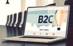 Landing Page of Laptop with B2C Concept - stock illustration
