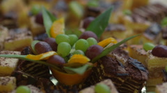 Beautiful delicious cakes with fruit Stock Footage
