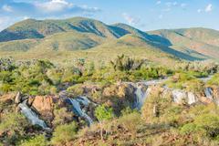 Epupafalls the Kunene River on the Angolan border in Kaokoland, Namibia - stock photo