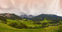 Storms clouds over Dolomite landscape, Italy - stock photo