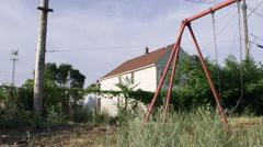 Abandoned Playground Swings Blight Slum Ghetto Detroit Stock Footage