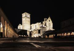 Floodlit church at night, Assisi, Italy - stock photo