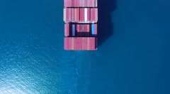Large container ship at sea - Aerial footage Stock Footage
