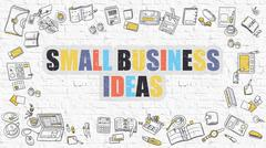 Small Business Ideas on White Brick Wall Piirros