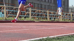 SLOW - A young athlete finishes - stock footage