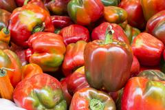 Ripe Yellow, Red and Green Peppers in Vegetables Market in Arequipa, Peru.  - stock photo