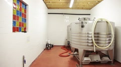 Beer Tanks In Small Brewery. Stock Footage