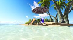 Beach and palms recliner blue sky 3D rendering - stock illustration