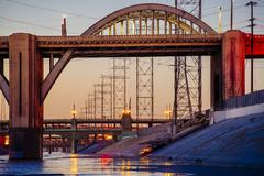 Los Angeles river embankment and 6th and 7th street bridges in the evening, Los Stock Photos