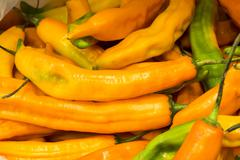 Aji amarillo, yellow chili pepper from South America, Arequipa, Peru.  Natural m - stock photo