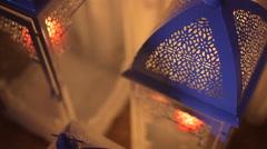 White iron lanterns with candel Stock Footage