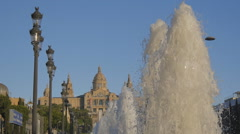 Fountain jets at Montjuic - stock footage