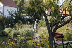 Mature woman gardening Stock Photos