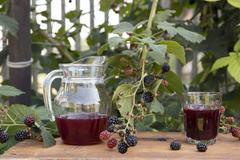 Pitcher of fresh fruit juice and glass of fresh juice, on table in garden, next Stock Photos