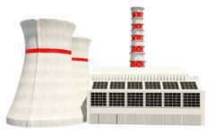 3D Illustration of Nuclear power station - stock illustration