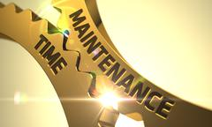 Maintenance Time Concept. Golden Metallic Cog Gears - stock illustration