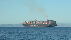Cargo Ship Carries Loaded Containers View Stock Footage