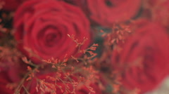Bouquet of red roses - wedding decoration Stock Footage