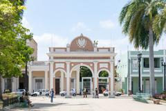 Archway on the square, Plaza Armas at the Monument, Monumento Marti in - stock photo