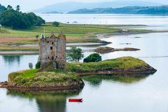 View of the Castle Stalker middle of Loch Laich, Castle Stalker is a tower - stock photo