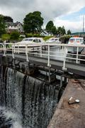 Some ships are waiting in front of the lock, Fort Augustus Locks, Thomas Stock Photos